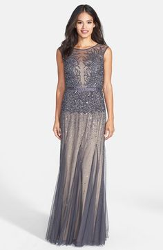 Free shipping and returns on Adrianna Papell Beaded Chiffon Gown at Nordstrom.com. Twinkling beads and sequins cast icy tendrils over the illusion-yoke bodice of an enchanting chiffon gown before scattering down the skirt to leave the pleated hem bare and free-flowing. Satin ribbon defines the inset waist for an effortless feminine silhouette.  (WAS $318)  $206
