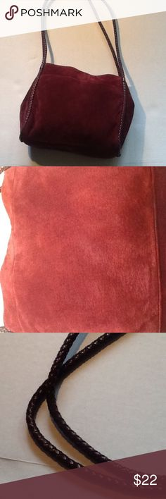 Etienne Aigner leather tote. Leather body tote with man made trim in perfect condition. Suede like feel and nice for the winter.9 1/2 inches tall by 10 wide. Nice burgundy color. Etienne Aigner Bags Totes