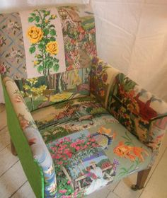 Love this idea - great use of needle point canvases ~ Vintage Chair, patchwork cover Funky Furniture, Upcycled Furniture, Furniture Makeover, Furniture Decor, Painted Furniture, Vintage Chairs, Vintage Decor, Vintage Linen, Patchwork Chair