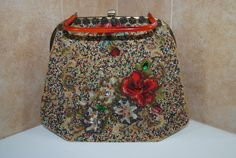 Vintage Soure New York Beaded Tapestry Pocketbook Purse $72.00