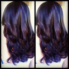 Dark hair color ideas. 2 tone hair with long layers.