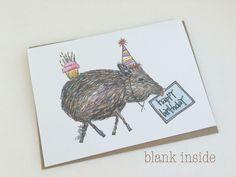 Southwest Birthday Greeting Card - Southwest Javelina Birthday Card by…