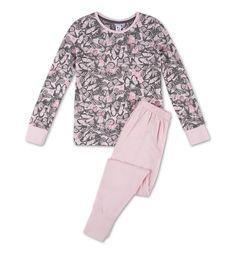 Pyjama en coton bio dans gris / rose