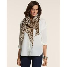 $45, Tan Leopard Scarf: Chicos All Over Leopard Scarf. Sold by Chico's. Click for more info: https://lookastic.com/women/shop_items/84395/redirect