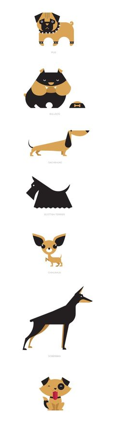 Cute dogs illustration! Love how they only use beige and black but have such versatile designs!