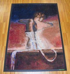 Fußmatte mit Kunstmotiv von Frau.