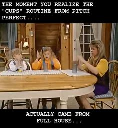 Seriously no one knew this!?!? I knew the cups routine BEFORE it was popular!!! Full House Memes, Full House Funny, Full House Quotes, Seinfeld, Thats 70 Show, Cup Song, Back In The 90s, Fuller House, Pitch Perfect