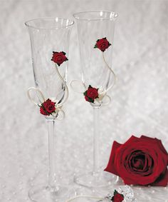 Flower of Love Toasting Flutes with Red Roses