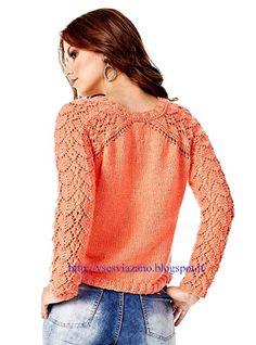 ВСЕ СВЯЗАНО. ROSOMAHA.: Тонкий пуловер с ажурными рукавами.