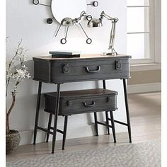 Urban Loft Metal 2 Trunk Tables - Concepts uniquely designed 2 piece trunk tables are perfect storage solution for almost any room in the home. This delightful piece is fashioned with such regal details as decorative pull handle and trunk sty Industrial Decor, Furniture, Repurposed Furniture, Diy Home Decor, Home Diy, Vintage Industrial Furniture, Trunk Table, Diy Furniture, Rustic Loft