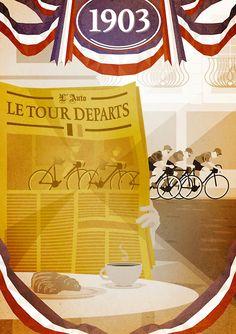 Velo-Poster 174: «La plus grande épreuve cycliste jamais organisée – 1903 Tour de France». Henri Desgrange organisierte zur Auflagesteigerung seiner Zeitung «L'Auto» (heute «L'Équipe») ein Radrennen. Am 19. Januar 1903 verkündete er «La plus grande épreuve cycliste jamais organisée». Die erste Tour führte im Juli 1903 über sechs Etappen von je 400 Kilometern oder 16 Stunden. Von 60 gestarteten Fahrern erreichten nur 21 das Ziel in Paris.