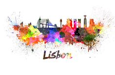 Lisbon skyline in watercolor over white background by SPPRINTS
