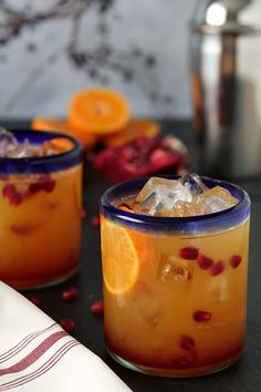Tequila Sunrise with Fresh Pomegranate cocktail recipe.