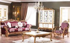 Elegance classic sofa set handmade golden leaf with different size colour and fabric options. Luxury Living Room, Classic Sofa Sets, Royal Furniture, Living Room Decor Curtains, Living Room Modern, Classic Sofa, Sofa Set, French Living Room Furniture, Luxury Seating