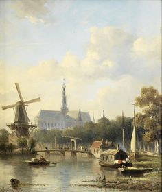 Dutch Painters, Everhardus Koster - A view of Haarlem with St Bavo...