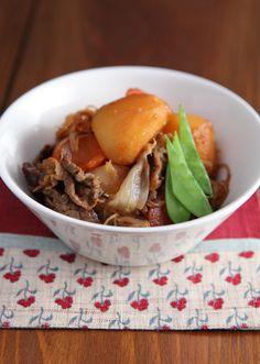 肉じゃが Nikujaga - Japanese dish of meat, potatoes and onion stewed in sweetened soy sauce, sometimes with ito konnyaku (yam like potato) and vegetables