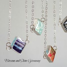 Win a sterling silver, resin and Japanese paper diamond necklace handmade by artist Julie Dye of Blossom and Shine! U.S. and Canada residents. Two winners. To enter, follow allthingspaper on Instagram and like the giveaway photo through Sunday, May 17, 2015.