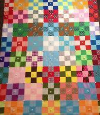 VINTAGE 60's 70's Rainbow Patchwork Quilt Blanket Art Folk Hippie Handmade EXC
