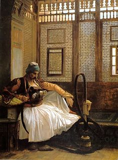 Arnaut Smoking by Jean-Léon Gérôme (Jean-Léon Gérôme (11 May 1824 – 10 January 1904) was a French painter and sculptor in the style now known as Academicism. The range of his oeuvre included historical painting, Greek mythology, Orientalism, portraits and other subjects, bringing the Academic painting tradition to an artistic climax.)