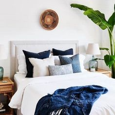 traditional meets modern bedroom design with modern neutral bedding, modern neutral bedroom design and chandelier, coastal bedroom decor with blue and white bedroom decor Navy Blue Bedrooms, Blue Bedroom Walls, Bedroom Black, Bedroom Colors, Home Bedroom, Bedroom Decor, Bedroom Ideas, Baby Bedroom, Master Bedrooms
