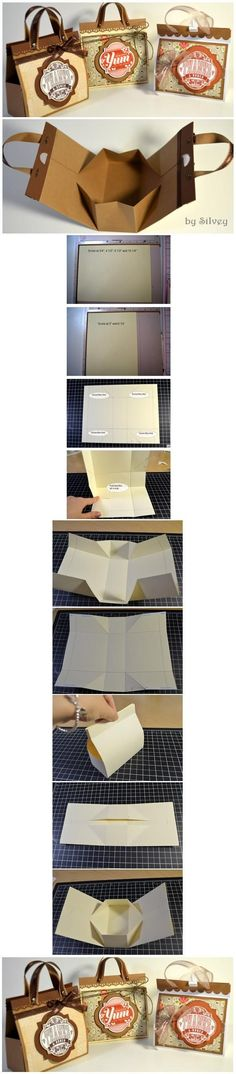 DIY Mini Paper Handbag. Not sure if this'd be any easier than the pillow-boxes, but they're sure cute!