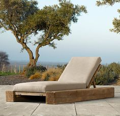 restoration hardware aspen train rail post lounge outdoor modern chair chaise
