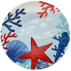 Celebrate Summer Together Coastal 9-in. Melamine Salad Plate, Blue ($3.49) ❤ liked on Polyvore featuring home, kitchen & dining, dinnerware, blue, melamine dinnerware, colored dinnerware, melamine salad plates, blue dinnerware and coastal dinnerware