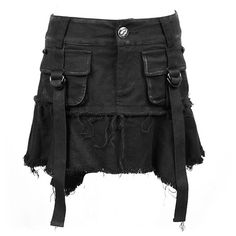 A gothic miniskirt by clothing brand Punk Rave, made from quality denim and black cotton, with straps, skull rivets and embossed lips button. Panties included!