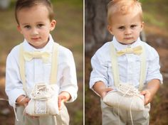 Yellow suspenders and bow-ties for these adorable ring bearers