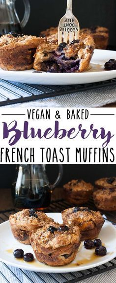 Vegan Baked Blueberry French Toast Breakfast Muffins