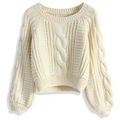 Chicwish Cable Knit Crop Sweater in Beige (775 ARS) ❤ liked on Polyvore featuring tops, sweaters, shirts, jumpers, beige, brown crop top, cropped jumper, jumper shirt, cable knit sweater and beige sweater