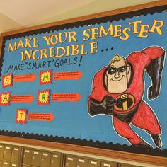 """Make Your Semester Incredible"" . Inspired by the Disney/Pixar movie ""The Incredibles."" Bulletin board to start 2016 in my residence hall. Superhero School, Superhero Classroom Theme, Disney Classroom, Classroom Themes, Dorm Themes, Movie Bulletin Boards, College Bulletin Boards, Superhero Bulletin Boards, Ra Bulletins"