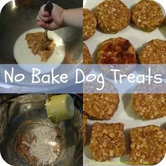 No Bake Dog Treats! Perfect for a last minute present for pups. Easy homemade dog treats are a hit at puppy playdates. No Bake Dog Treats, Puppy Treats, Diy Dog Treats, Homemade Dog Treats, Dog Treat Recipes, Dog Food Recipes, Dog Snacks, Diy Stuffed Animals, The Best