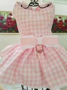 """Lime /& White Polka Dots X-Small Simply Wag Dog DRESS /""""Gingham/"""" Pink /& White"""