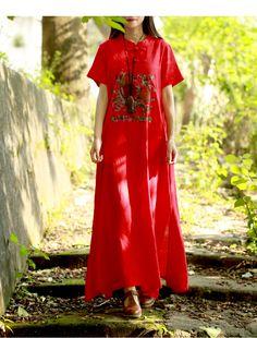 74ea959e23 Aliexpress.com   Buy LZJN Embroidery Maxi Dress 2018 Summer Women Long Dresses  Cotton Linen Vintage Robe Stand Collar Short Sleeve Chic Shirt Dress from  ...