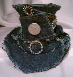 SugarLumpCreations Recycled denim mini top hat on etsy