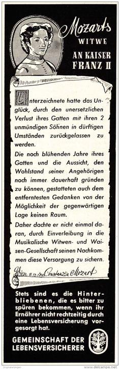 Original-Werbung/ Anzeige 1951 - MOZART/ FRANZ II. / GEMEINSCHAFT DER LEBENSVERSICHERER - ca. 65 x 220 mm