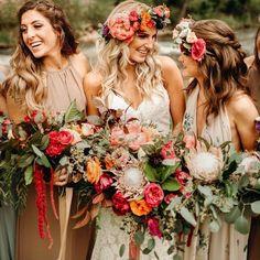 Autumn Wedding Ideas Show Me Your Mumu ~ Bridesmaid Dresses Dusty Rose Wedding, Orange Wedding, Wedding Colors, Wedding Styles, Boho Wedding Flowers, Boho Flowers, Perfect Wedding, Dream Wedding, Wedding Day