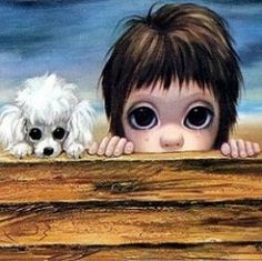 Who is the mother of big-eye art? Margaret Keane, of course! Her poignant paintings, mass produced as prints in the and captured the hearts of the masses and are popular once again. Margaret Keane Artwork, Big Eyes Margaret Keane, Keane Big Eyes, Margareth Keane, Big Eyes Paintings, Decoupage, Cute Eyes, Arte Pop, Eye Art