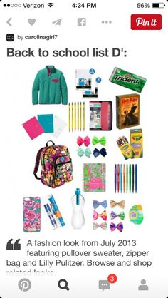 Back to school list D': - Back to school - School Outfits Highschool Back To School List, Middle School Hacks, School Life, High School, School Days, College School Supplies, Back To School Supplies, Patagonia Pullover, Lilly Pulitzer