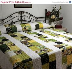 Summer Sale 10% Off King size Bed Quilt in ORIGINS by BASIC GREY. $445.50, via Etsy.