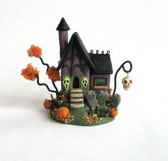 Miniature   Halloween Fairy Witch House OOAK by by ArtisticSpirit, $60.00