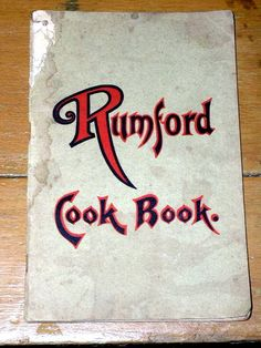 Rumford Cook Book, 1906, Rumford Baking Powder,  #05040935.  A cook book of recipes from Rumford baking Powder by Fannie Merrit Farmer, Principal of the Boston Cooking School. It has 48 pages and all are intact except for the cover and the first 4 pages which have a hole worn in them at the top left corner by the spine. All recipes and instructions are intact and complete.  $20.00.