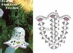 Pin on Christmas ornaments Crochet Christmas Decorations, Christmas Crochet Patterns, Crochet Decoration, Crochet Ornaments, Crochet Doily Patterns, Holiday Crochet, Crochet Snowflakes, Crochet Chart, Thread Crochet