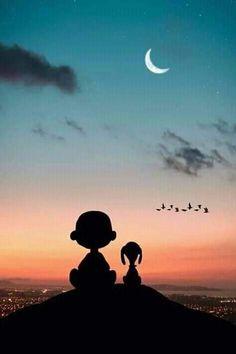 Snoppy and charley Snoopy Love, Snoopy And Woodstock, Snoopy Images, Snoopy Pictures, Snoopy Wallpaper, Cartoon Wallpaper, Snoopy Quotes, Charlie Brown And Snoopy, Beautiful Moon