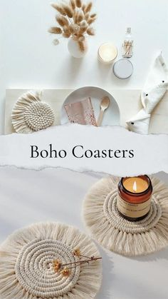 Add some boho decor to your place! Drink coasters? Candle coasters? Mini place mats? Heck use em for all three! The rope coasters are handmade and consist of macrame knots... MACRAME so hot right now. The approximate diameter of the inner knotted circle is 9-10cm. These are sure to add a subtle decoration to any room. @xshantisouls #handmade #macrame #coasters #bohohomedecor #boho #boholife Diy Gifts To Sell, Handmade Gifts For Friends, Diy Gifts For Him, Easy Diy Gifts, Boho Accessories, Place Mats, Macrame Knots, Modern Boho, Handmade Home Decor