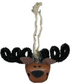 Jingle Bell Moose....This jingle bell moose makes a great tree ornament or decoration for a gift package. It's cheerful smile is bound to brighten anyone's day.