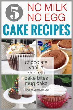 Basic no milk, no egg, no butter cake recipe our grandmothers used along with a few other variations you will love today! Fun recipes at Milk Allergy Mom. Egg Free Recipes, Allergy Free Recipes, Fun Recipes, Milk Recipes, Easy Cake Recipes, Milk Allergy, Egg Allergy, Cake Recipe No Milk, Dairy Free Baking