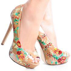 Beige-Patent Floral Peep Toe Women Stiletto High Heel Platform Shoes