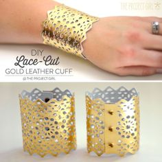 DIY Lace-cut gold leather cuff made with Cricut Explore -- The Project Girl. #DesignSpaceStar